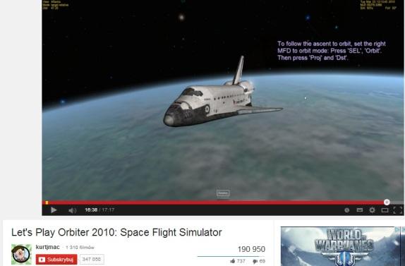 Horyzont w kosmosie wg . symulatora lotu orbitalnego.-do porównania ze zdjęciami.