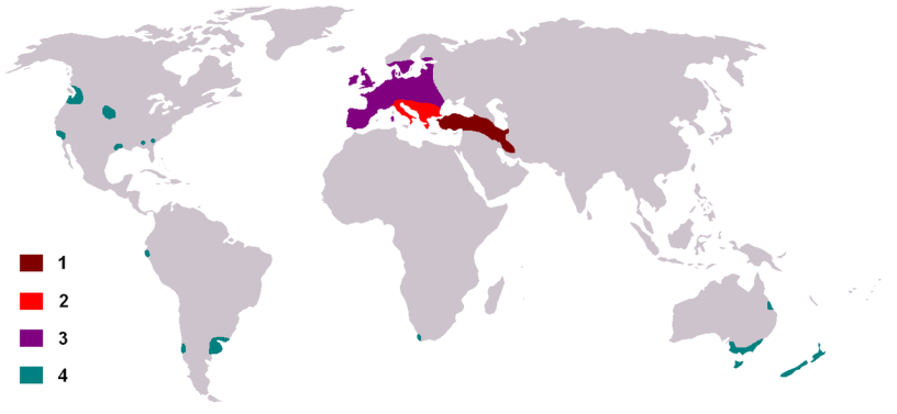 Występowanie Daniela , teren na czerwono to rodzime wystepowanie, gdzie tu Izrael?, owszem jesli Ziemia Obiecana to Europa to tak.