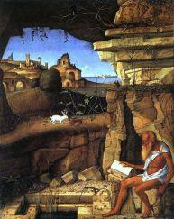 Hieronim pracował 14 lat nad Wulgatą , łacińskim przekładem Biblii a robił to mieszkając w Betlejem, dzisiaj Betlejem w Palestynie ma do morza 55 km, a tu co widzimy?, Hieronim nad morzem?, obraz Giovanniego Bellini z XV wieku.