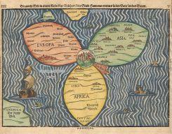 Mapa świata: Jerozolima w centrum miedzy trzema kontynentami -pasuje do ciesniny Bosfor