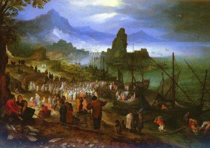 Jan Brueghel 1568 -1625 w takich latach żył, to jest Kazanie nad jeziorem (portem morskim)