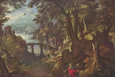 Gillis van Coninxloo koniec XVI Eliasz karmiony przez kruka.
