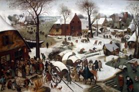 Pieter Bruegel rok 1566 Spis ludności w Betlejem.