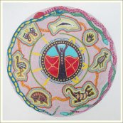 Aborygeńska mandala, motyw życia w kuli gdzie w środku mieszka Bóg