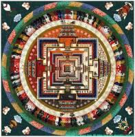 Mandala hinduska: motyw wszechswiata w kuli gdzie w srodku znajduje się Bóg - przedstawiany jako mieszkający w światyni.