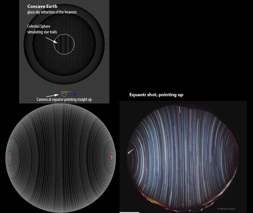 Symulacja komputerowa potwierdzająca zdjęcie z równika  na którym są widoczne dwa bieguny. Jest to odpowiedz na zarzut że widok gwiazd z równika przeczy NC, jak widać NC (niebocentryzm ) funkcjonuje bez zarzutu.