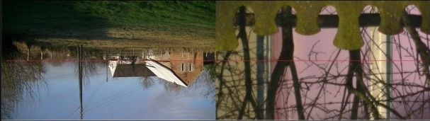 """To po lewej jest przed przybliżeniem a to po prawej po przybliżeniu. Czerwona linia środka obrazu przed przybliżeniem znajduje się daleko od górnej krawędzi betonowego ogrodzenia. Natomiast po zoomowaniu/przybliżeniu już się znajduje tuż nad ogrodzeniem. Zdjecie obróconym aparatem na godzinie """"18"""" , o czym to swiadczy ?"""